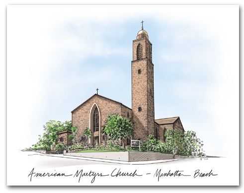 American Martyrs Church Manhattan Beach California Architectural Rendering Script Horizontal Larger