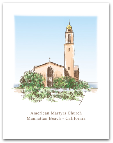 American Martyrs Church Manhattan Beach California Sketch Rendering Vertical Larger