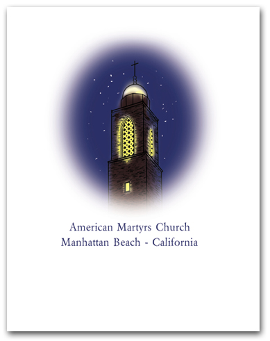 American Martyrs Church Steeple at Night Manhattan Beach California Oval Vertical Larger
