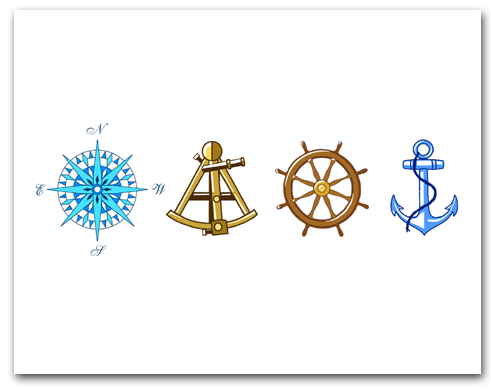 Blue Compass Rose Brown Sextant Brown Helm Wheel Blue Anchor Larger
