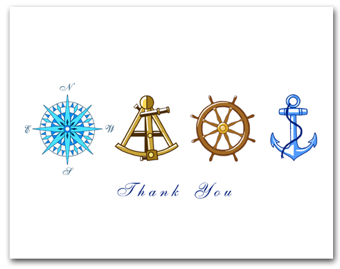 Blue Compass Rose Brown Sextant Brown Helm Wheel Blue Anchor Thank You Larger