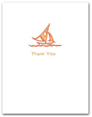 Bright Orange Sailboat Thank You Larger