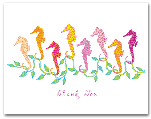 Eight Small Sea Horses Seaweed Thank You Larger