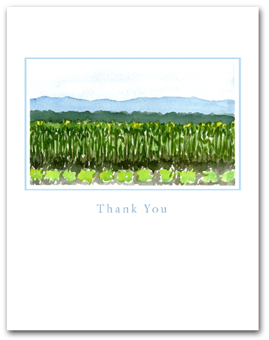 Field Planted Vegetables Crops Mountains Background Small Thank You Vertical Larger