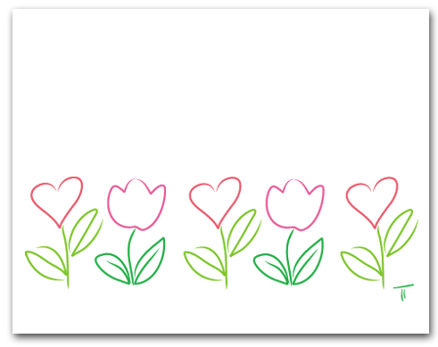 Five Simple Line Drawing Hearts and Tulip Row Larger