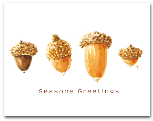 Four Acorns Seasons Greetings Larger