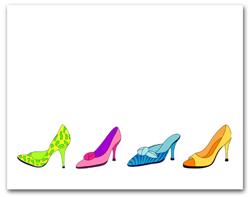 Four Row Colorful High Heeled Woman�s Shoes Larger