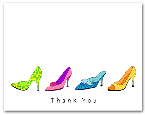 Four Row Colorful High Heeled Woman�s Shoes Thank You Larger