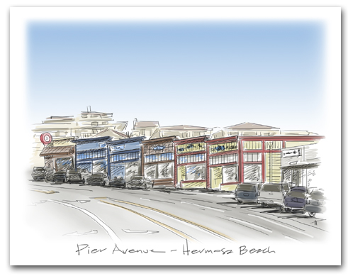 Hermosa Beach California Historic Pier Avenue Stores Large Horizontal Larger