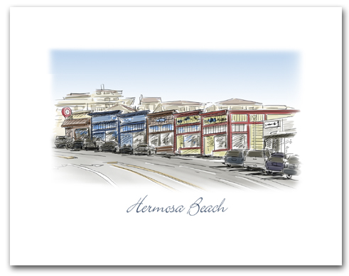 Hermosa Beach California Historic Pier Avenue Stores Small Horizontal Larger