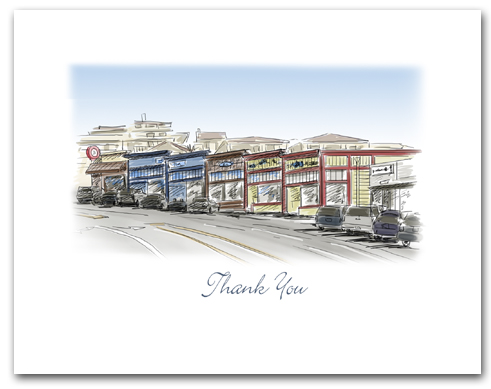 Hermosa Beach California Historic Pier Avenue Stores Small Thank You Horizontal Larger