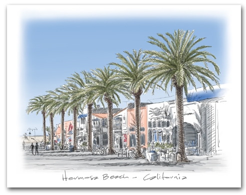 Hermosa Beach California Pier Avenue Palm Trees Large Horizontal Larger