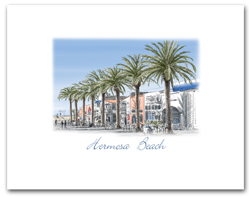 Hermosa Beach California Pier Avenue Palm Trees Small Horizontal Larger