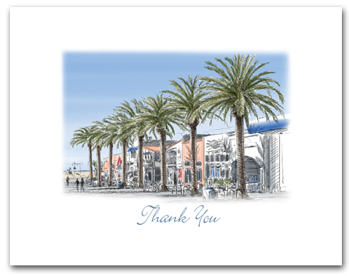 Hermosa Beach California Pier Avenue Palm Trees Small Thank You Horizontal Larger