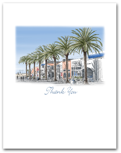 Hermosa Beach California Pier Avenue Palm Trees Small Thank You Vertical Larger