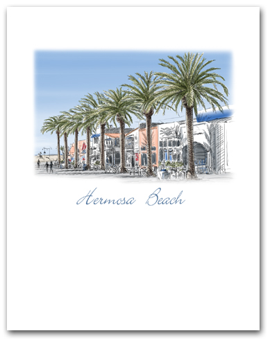 Hermosa Beach California Pier Avenue Palm Trees Small Vertical Larger