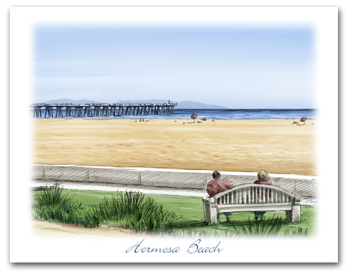 Hermosa Beach Noble Park Pier Catalina Beach View Horizontal Larger