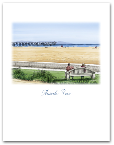 Hermosa Beach Noble Park Pier Catalina Beach View Small Thank You Vertical Larger