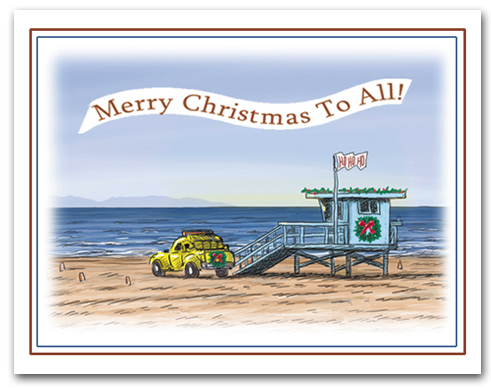 Lifeguard Tower on Beach HoHoHo Flag Wreath Merry Christmas To All Banner Larger