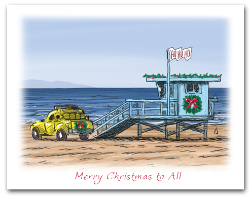 Lifeguard Tower on Beach HoHoHo Flag Wreath Merry Christmas To All Caption Larger