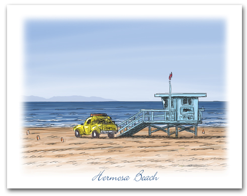 Lifeguard Tower Yellow Truck on Beach Hermosa Beach California Large Horizontal Larger