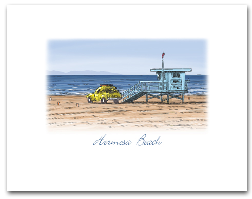 Lifeguard Tower Yellow Truck on Beach Hermosa Beach California Small Horizontal Larger