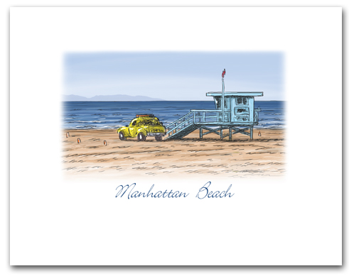 Lifeguard Tower Yellow Truck on Beach Manhattan Beach California Small Horizontal Larger
