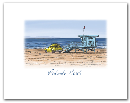 Lifeguard Tower Yellow Truck on Beach Redondo Beach California Small Horizontal Larger