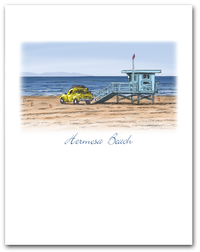 Lifeguard Tower Yellow Truck on Beach Small Hermosa Beach California Vertical Larger