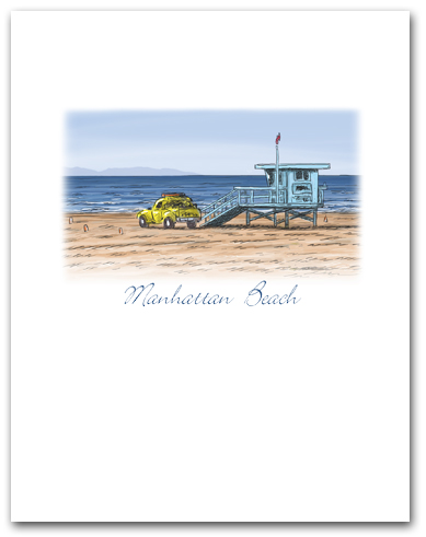 Lifeguard Tower Yellow Truck on Beach Small Manhattan Beach California Vertical Larger