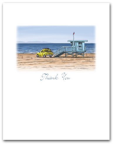 Lifeguard Tower Yellow Truck on Beach Small Thank You California Vertical Larger