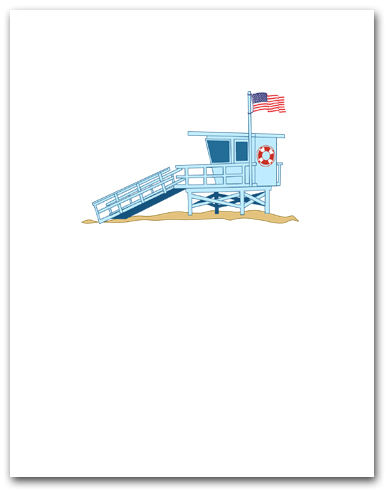 Light Blue Lifeguard Tower American Flag Larger