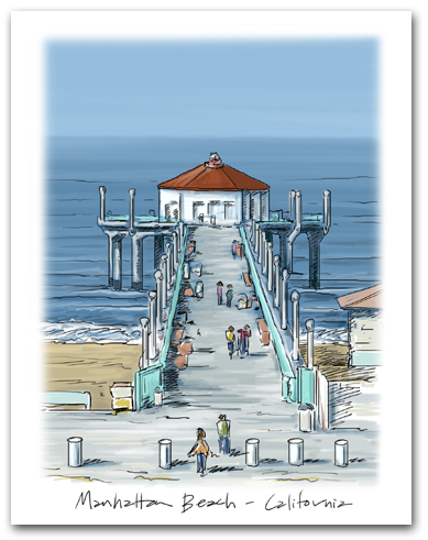 Manhattan Beach Pier California West Pacific Ocean Large Vertical Larger