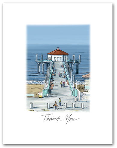 Manhattan Beach Pier California West Pacific Ocean Small Script Thank You Vertical Larger