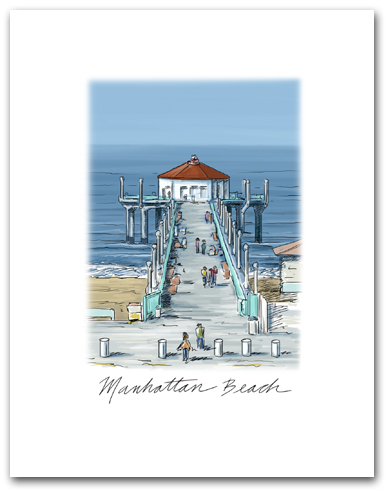 Manhattan Beach Pier California West Pacific Ocean Small Script Vertical Larger