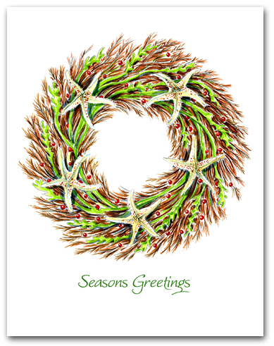 Medium Seaweed and Sea Star Wreath Seasons Greetings Larger