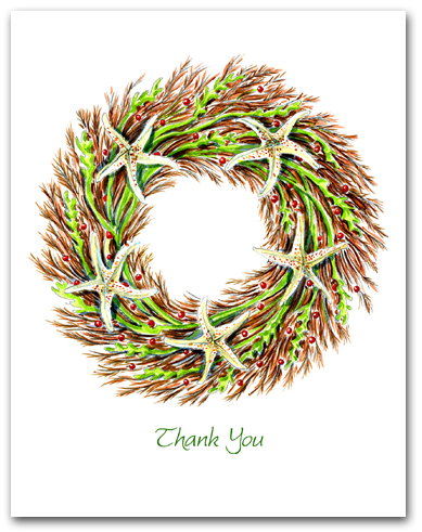 Medium Seaweed and Sea Star Wreath Thank You Larger