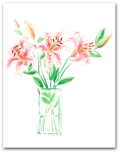 Multiple Pink White Orange Stargazer Lilies Larger