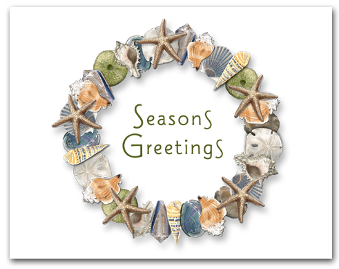 Multiple Shell Wreath Seasons Greetings Font B Larger