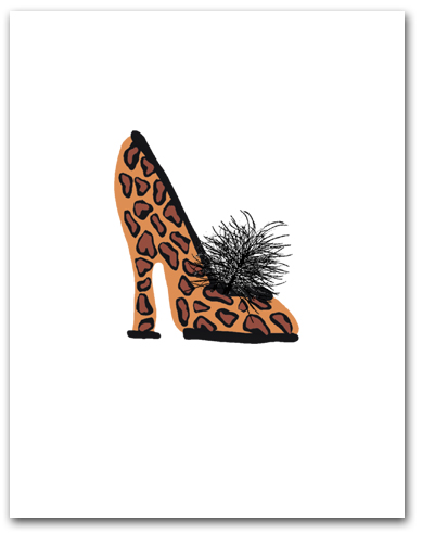 One Woman�s High Heeled Shoe Leopard Pattern Larger