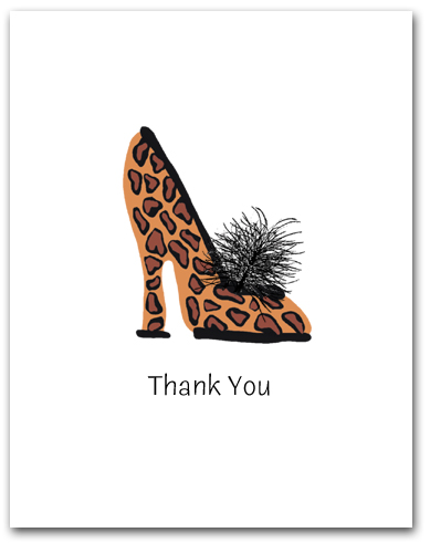 One Woman�s High Heeled Shoe Leopard Pattern Thank You Larger