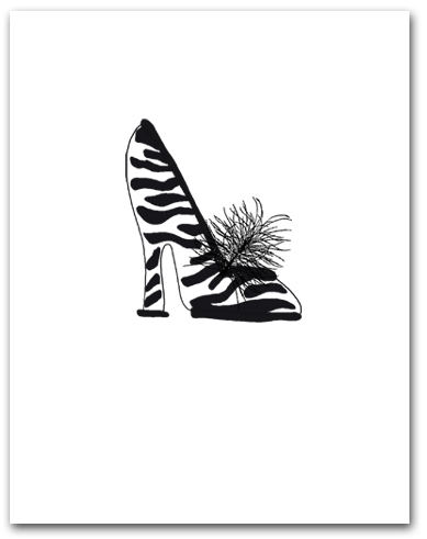 One Woman�s High Heeled Zebra Pattern Shoe Larger