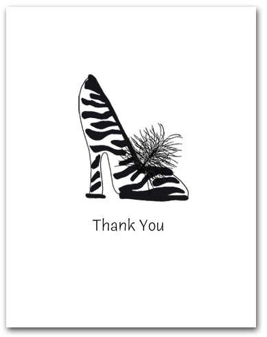 One Woman�s High Heeled Zebra Pattern Shoe Thank You Larger