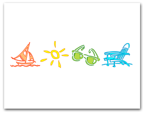 Orange Sailboat Yellow Sun Green Sunglasses Blue Beach Chair Larger