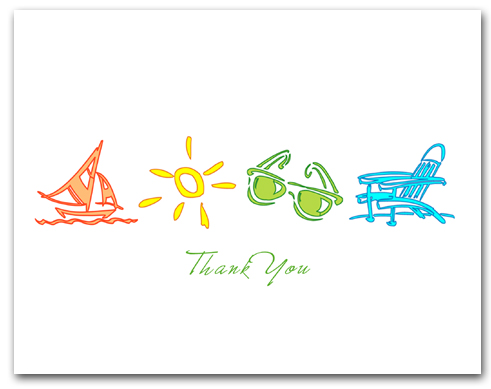 Orange Sailboat Yellow Sun Green Sunglasses Blue Beach Chair Thank You Larger