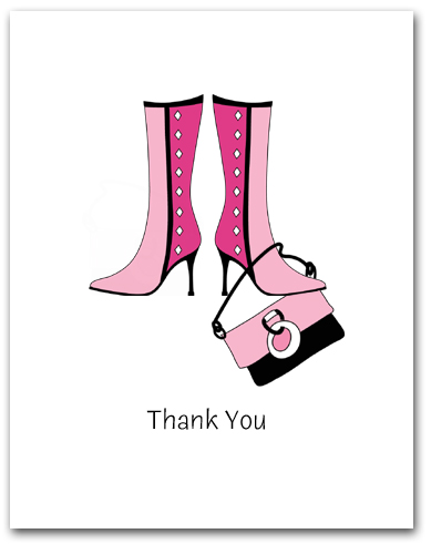Pair Dark Light Pink Boots Dangling Matching Purse Thank You Larger