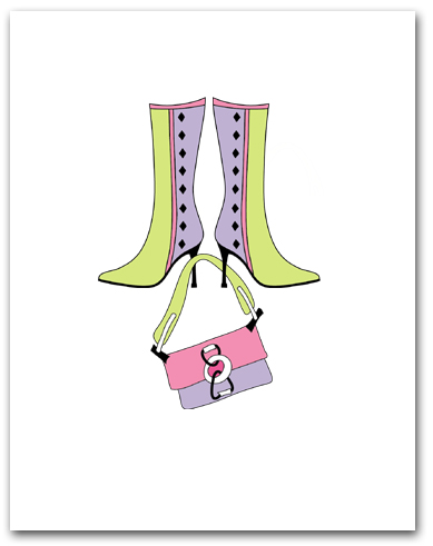 Pair Lavender Light Green Boots Dangling Matching Purse Larger