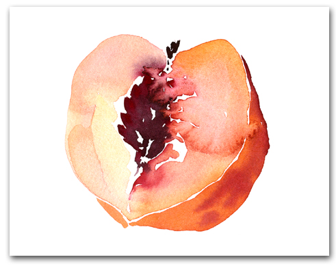 Peach Half with Pit Larger
