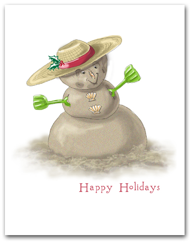Sand Snowman Beach Hat Green Shovel Arms Happy Holidays Larger