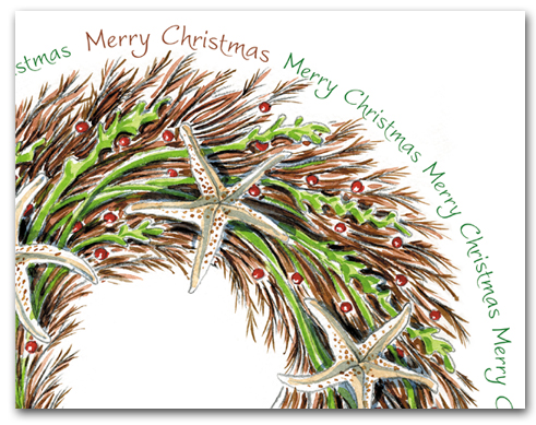 Seaweed and Sea Star Wreath Partial with Merry Christmas Larger